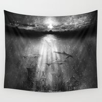 dolphins Wall Tapestries featuring dolphins, civilization. by Viviana Gonzalez