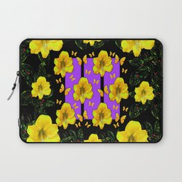 BLACK ART  YELLOW AMARYLLIS FLOWERS BUTTERFLY FLORAL Laptop Sleeve