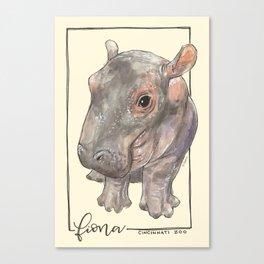 Fiona the Hippo - Bashful Canvas Print