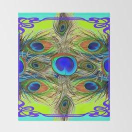 BLUE PEACOCK FEATHER ART NOVEAU DESIGN Throw Blanket