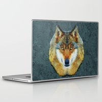 polygon Laptop & iPad Skins featuring polygon wolf by Ancello