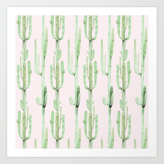 Green and Coral Pink Cactus Stack Pattern Art Print