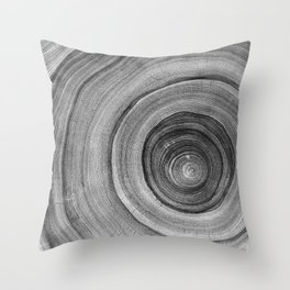 Detailed rich black gray and whit cut wood tree with circle growth rings pattern Throw Pillow