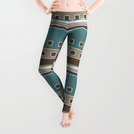 Squares and Stripes in Brown and Teal Leggings