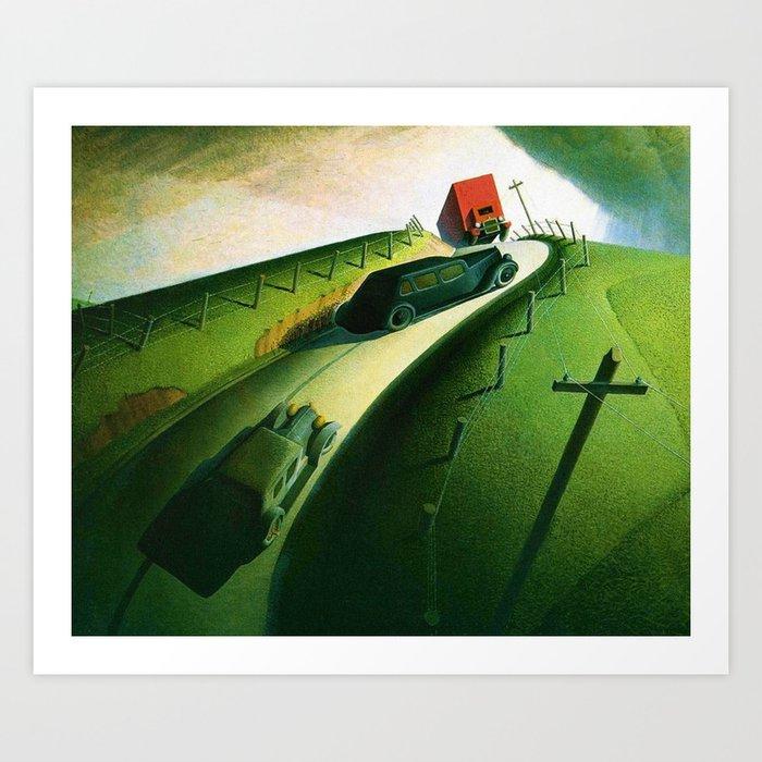 Classical Masterpiece 'death On Ridge Road' By Grant Wood Art Print by Jeanpaul Ferro - X-Small