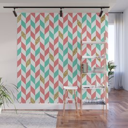 Mint Coral Gold Glitter Chevron Scatter Pattern Wall Mural