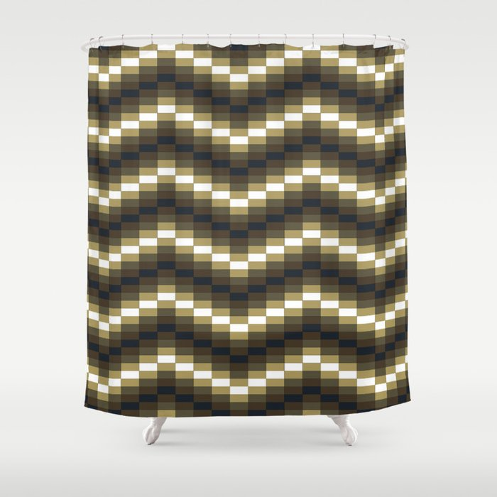 Block Wave Illustration Artwork Shower Curtain