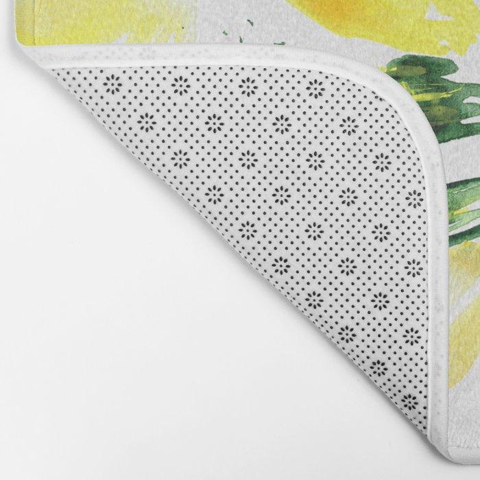 So luscious lemons || watercolor Bath Mat