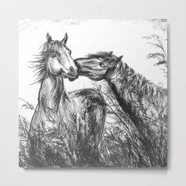 Kiss_Charcoal drawing Metal Print