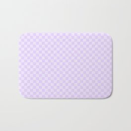 Chalky Pale Lilac Pastel Color Checkerboard Bath Mat