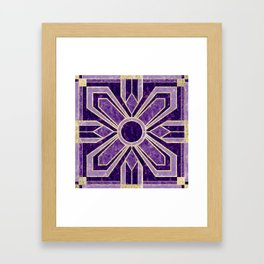 Art Deco Flowers in Violet Purple with Faux Gold Framed Art Print