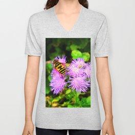 Bee on Ageratum Unisex V-Neck