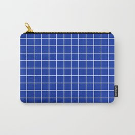 Egyptian blue - blue color - White Lines Grid Pattern Carry-All Pouch