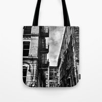 manchester Tote Bags featuring  Northern Quarter MANchester by inkedsandra