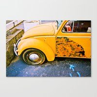 volkswagon Canvas Prints featuring vintage vw and door art by robertbuttery