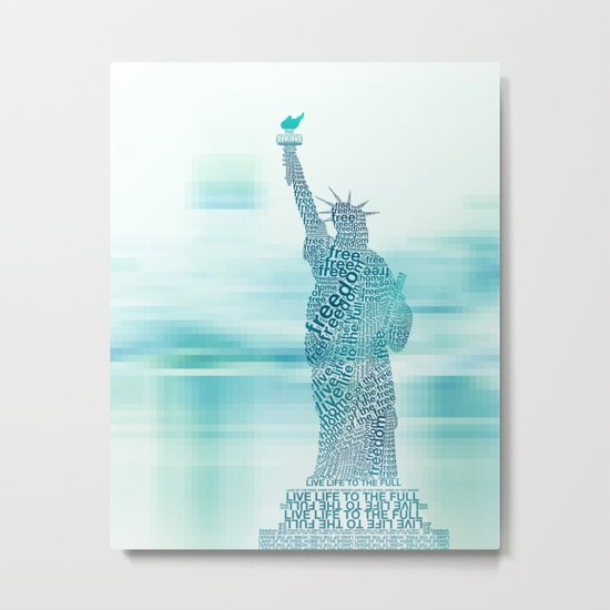 Typographic Statue of Liberty - Aqua Blue Metal Print