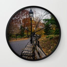 NYC Benches & Trees Wall Clock