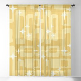 Retro Mid Century Modern Abstract Pattern 127 Yellow Sheer Curtain
