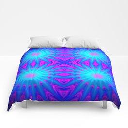 Fuchsia Pink & Blue Starburst Comforters