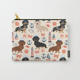 Dachshund nautical sailor dog pet portraits dog costumes dog breed pattern custom gifts Carry-All Pouch