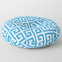 Bright Blue and White Greek Key Pattern Floor Pillow