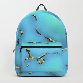 Turquoise with Gold Gemstone Print Backpack
