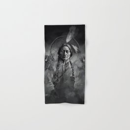 Black and white portrait-Sitting bull Hand & Bath Towel