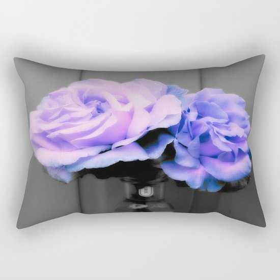 Flowers Lavender Periwinkle Pop of Color Rectangular Pillow