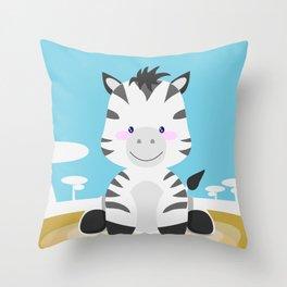 Zebra in the savannah Throw Pillow