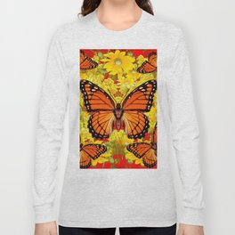 VICEROY BUTTERFLIES & YELLOW FLOWERS RED ART Long Sleeve T-shirt