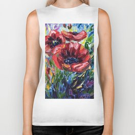 Red Poppies Biker Tank