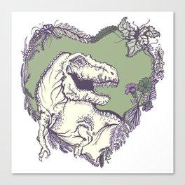 T-Rex Heart - Green & Purple Canvas Print