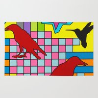 """onward Area & Throw Rugs featuring """"3 CAWS"""" by Monty Montgomery"""