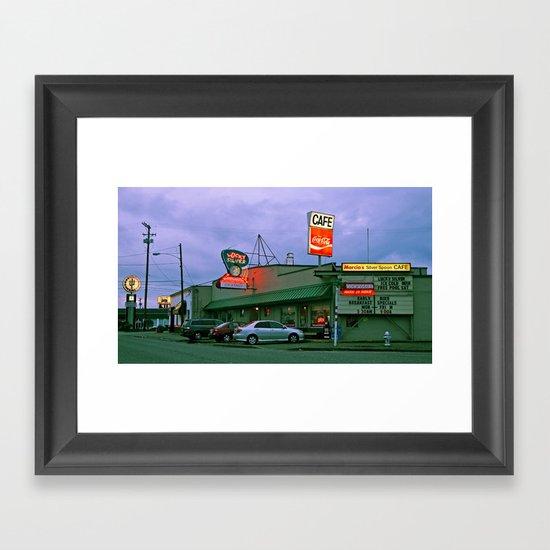 Cafe corner Framed Art Print