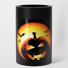 Smile Of Scary Pumpkin Can Cooler