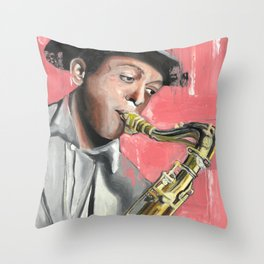 Miles Poster, Jazz Music Legend, American jazz saxophonist, Drawings Icon Portrait, Minimalist Wall Art Decor, Nursery Art Throw Pillow
