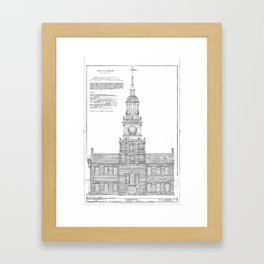 Independence Hall Blueprint Schematics Framed Art Print