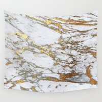 android Wall Tapestries featuring Gold Marble by Jenna Davis Designs