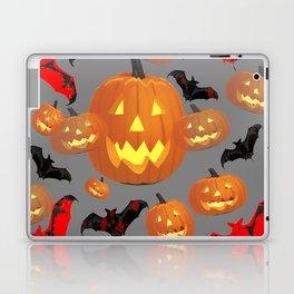 GREY HALLOWEEN JACK O'LANTERNS & BATS Laptop & iPad Skin