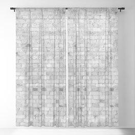 White Washed Brick Wall - Light White and Grey Wash Stone Brick Sheer Curtain