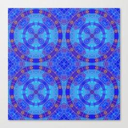 Glowing Blue Purple African Mandala Canvas Print