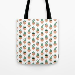 Cute terracotta pots with succulent hairstyles Tote Bag