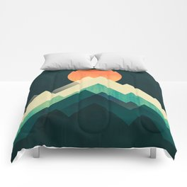 Ablaze on cold mountain Comforters