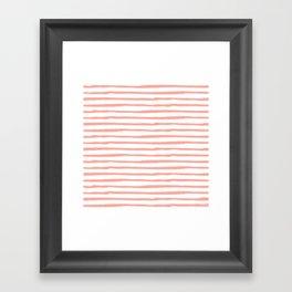 Pink Drawn Stripes Framed Art Print