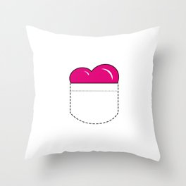 Close to my Heart, Pocket Love - Pink Throw Pillow