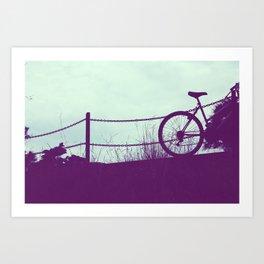 fence and bike Art Print
