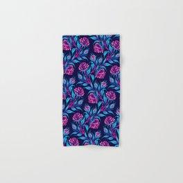 Roses - Dark Blue Pink Hand & Bath Towel