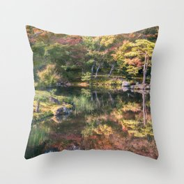 Japanese Garden, colorful in autumn in Kyoto. Throw Pillow
