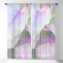 Lush Foliage Glitch - Green and Pink Sheer Curtain
