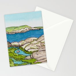 Peggy's Cove Watercolour Painting Backside Stationery Cards